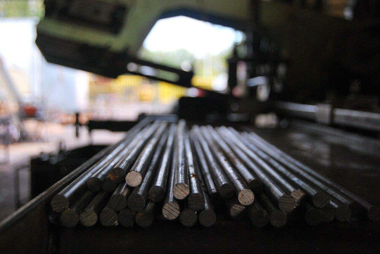 Steel Bars in a grinding factory